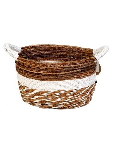 Kanca Ev Muz Kabuğu, Saplı Oval Sepet, Koyu Kahve-Beyaz, Küçük Beyaz